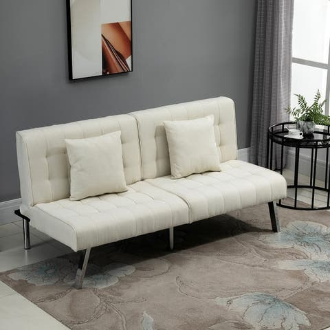 HOMCOM 2-Seater Convertible Sofa Bed with 7 Adjustable Angled Backrest Levels, 2 Pillows, and 5 Steel Legs - 32.25*63*31.5