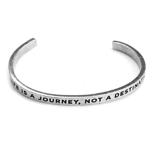 Women's Note To Self Inspirational Lead-Free Pewter Cuff Bracelet - Life Is A Journey - Silver