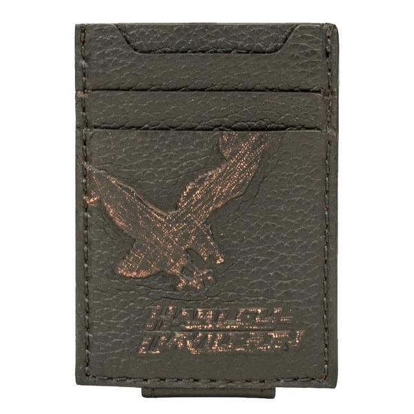 """Harley-Davidson Men's Vintage Eagle Front Pocket Leather Wallet EV4369L-BLACK - 2.75"""" x 3.75"""""""