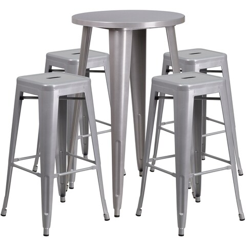 Brimmes 5pcs Round 24'' Silver Metal Table w/4 Square Seat Backless Barstool