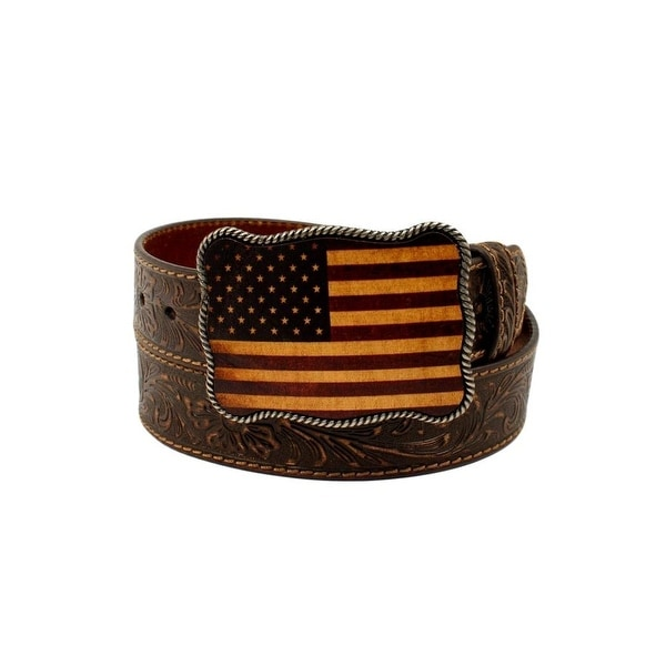 Nocona Western Belt Mens USA Flag Buckle Leather Floral