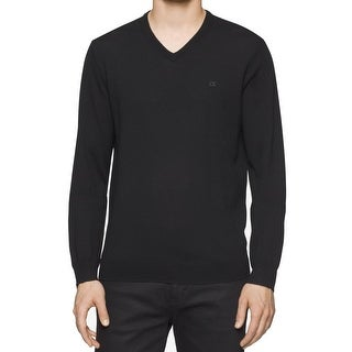 Calvin Klein NEW Black Mens Size Medium M V-Neck Wool Knit Sweater