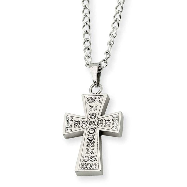 Chisel Stainless Steel CZ Cross Pendant Necklace (3 mm) - 20 in