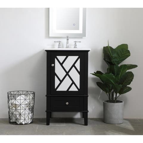 Glamorous Nova Vanity Cabinet Set with Marble Top
