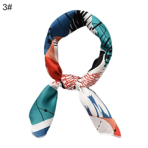 Women Striped Floral Print Small Square Silk Satin Scarf Neckerchief Headband