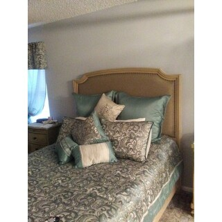 Madison Park Essentials Cadence Teal Jacquard Paisley 24 Pieces Room in a Bag - Sheet Set & Window Curtain Inlcuded