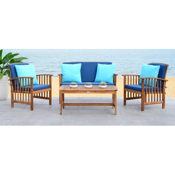 Safavieh Outdoor Living Rocklin Navy 4-Piece Set with Accent Pillows. Opens flyout.