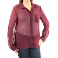 Womens Red Polka Dot Cuffed Collared Casual Button Up Top  Size  L