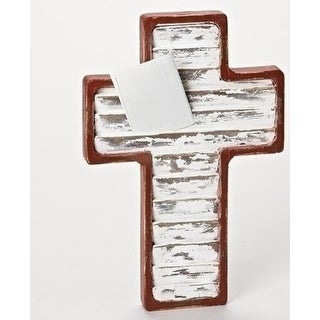 "18"" Religious Shutter Card Holder Wall Cross - Red"