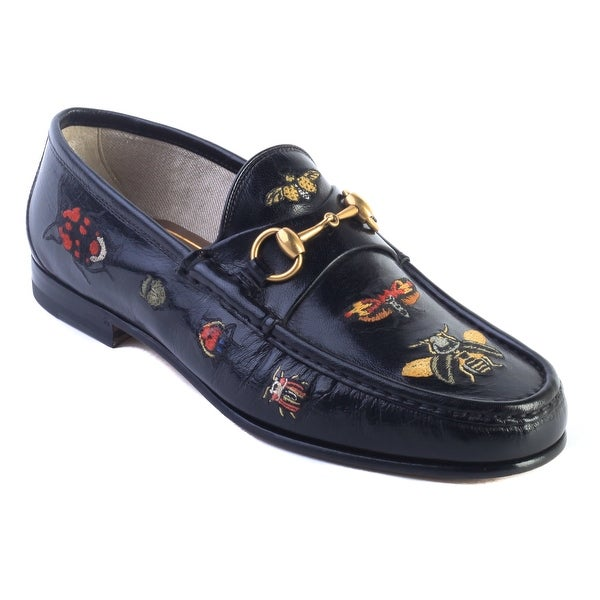 43546d5f946 Shop Gucci Men s Embroidered Horsebit Leather Loafer Black Shoes ...