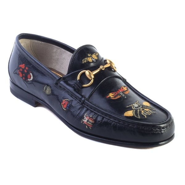 a01d97b6b Shop Gucci Men's Embroidered Horsebit Leather Loafer Black Shoes ...