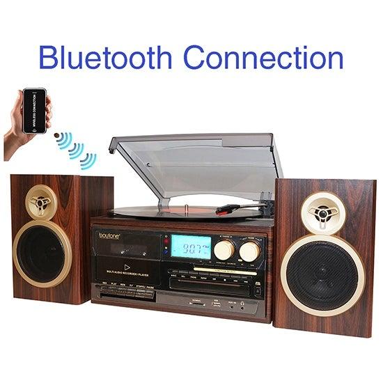 Boytone BT-28SPM, Bluetooth Classic Style Record Player Turntable with AM/FM Radio,