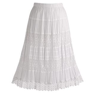 "Women's White Peasant Skirt - Cotton Lace 26"" Tea Lengh"