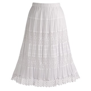 "Women's White Peasant Skirt - Cotton Lace 26"" Tea Lengh"