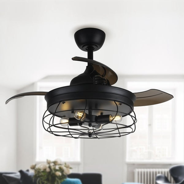 Industrial Black Metal 34-inch Retractable 3-Blades Ceiling Fan. Opens flyout.
