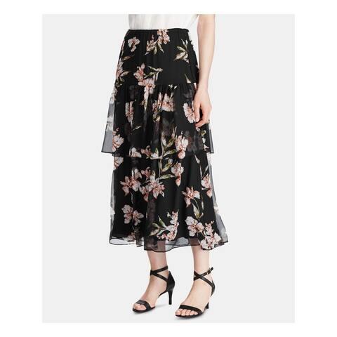 RALPH LAUREN Black Tea-Length Peasant Skirt Size M