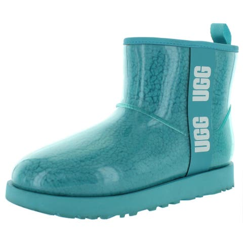 Ugg Womens Classic Clear Mini Winter Boots Waterproof Faux Fur - Black