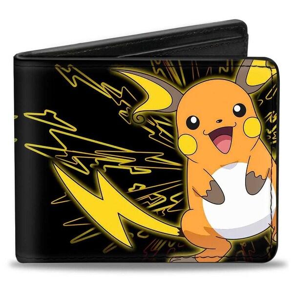Electric Raichu + Electric Pikachu Black Yellow Bi Fold Wallet - One Size Fits most