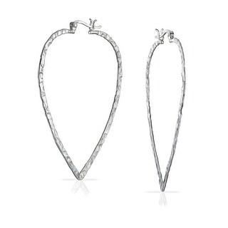Bling Jewelry Sterling Silver Hammered Leaf Hoop Earrings