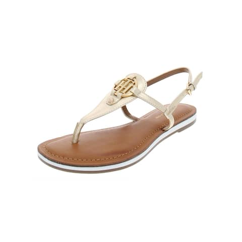 Tommy Hilfiger Womens Genei Thong Sandals Metallic T-Strap