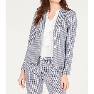 Link to Nine West Womens Blazer White Navy Blue Size 4 Gingham Two-Button Similar Items in Suits & Suit Separates