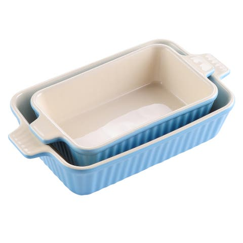 2-Piece Blue 9'' &11''Rectangle Porcelain Bakeware Pans Set