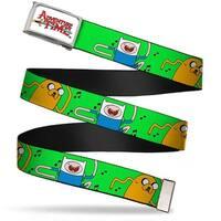 Adventure Time Logo Fcg White Chrome Finn & Jake W Music Notes Green Web Belt