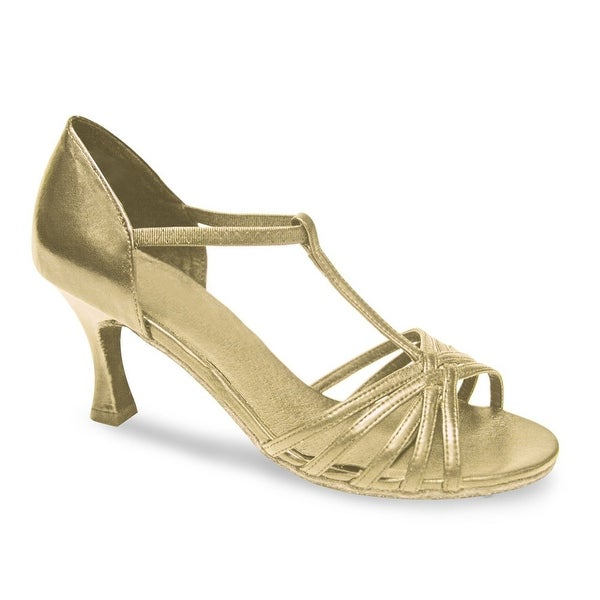 63e7b2195f18 Shop Sansha Adult Gold T-Bar Elasticated Strap Maria Ballroom Shoes Womens  - Free Shipping Today - Overstock.com - 19491253
