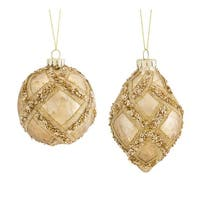 Set of 2 Glossy Gold Decorative Ball and Drop Christmas Ornaments 7""