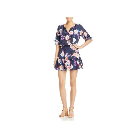 Yumi Kim Womens Stefee Casual Dress Floral Print Short Sleeve