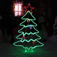 Sunnydaze LED Christmas Tree, Indoor-Outdoor with Stand - Multi-Color - 44-Inch