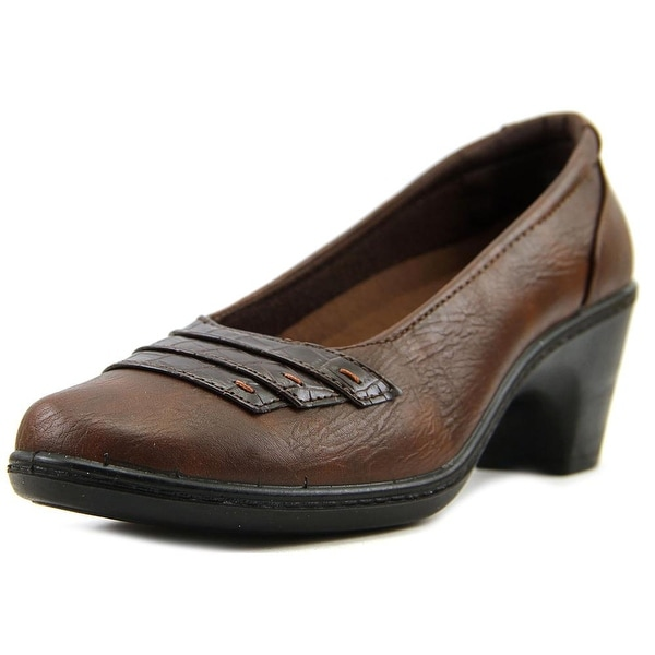 Easy Street Fiona Women W Square Toe Leather Brown Mary Janes