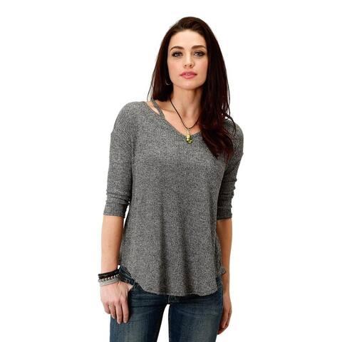 Roper Western Shirt Womens 3/4 Slv Blouse Black