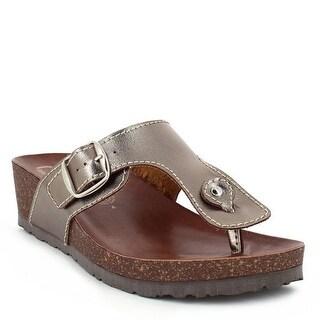 Nomadas Adult Rich Silk Brown Buckled Strap Flip Flop Sandals