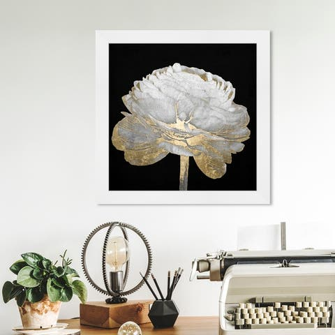 Oliver Gal 'Gold and Light Floral II' Floral and Botanical Framed Wall Art Prints Florals - Black, White