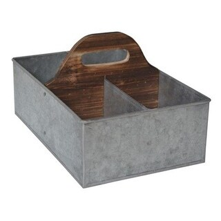Galvanized Storage Caddy with Wood Center Handle - 6.7 x 9.7 x 15 in.