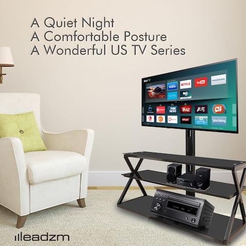 """Leadzm 2/3-Tier Shelves 32-65"""" Corner Floor TV Stand with Swivel Bracket"""