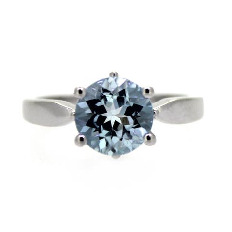 925 Sterling Silver Sky Blue Topaz Solitaire Ring