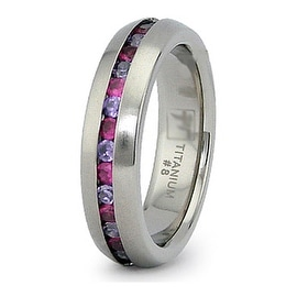 5.5mm Eternity Titanium Ring with Pink and White CZ (Sizes 8-12)