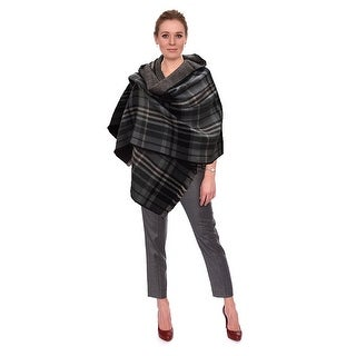Women's Soft Tartan Checked Plaid Scarf Shawl Cape Blanket Shawl Wrap Scarf Poncho with Fringe Trims