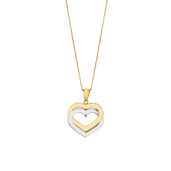 "Mcs Jewelry Inc 14 KARAT TWO TONE, YELLOW GOLD AND WHITE GOLD DOUBLE OPEN HEART NECKLACE (18"") - Multi"