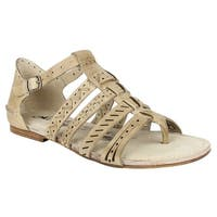 Naughty Monkey Womens true grit Leather Split Toe Casual Strappy Sandals