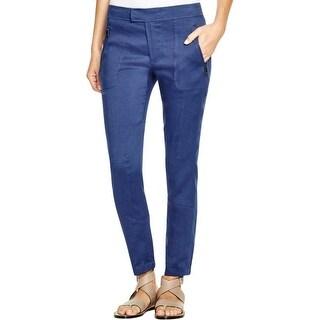 Vince Womens Casual Pants Patchwork Linen Blend