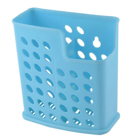 "Plastic 2 Compartments Wall Hanger Spoon Chopsticks Holder Organizer - Blue - 5.1"" x 2.6"" x 5.9""(L*W*H)"