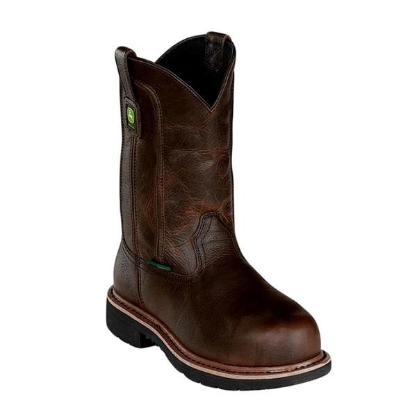 "John Deere Work Boots Mens 11"" Shaft Steel Toe Mahogany"
