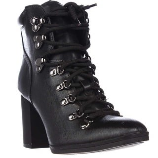 Calvin Klein EveeLace Up Casual Heeled Boots - Black