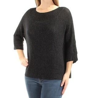 EILEEN FISHER $238 Womens New 1629 Black Glitter 3/4 Sleeve Sweater M B+B