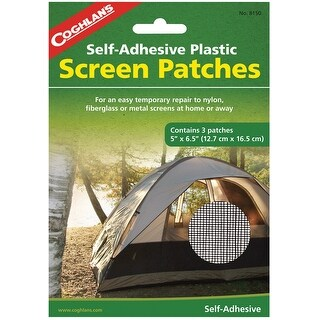 """Coghlan's 8150 Self-Adhesive Plastic Screen Patches for Emergency Repairs, 5"""" x 6.5"""""""