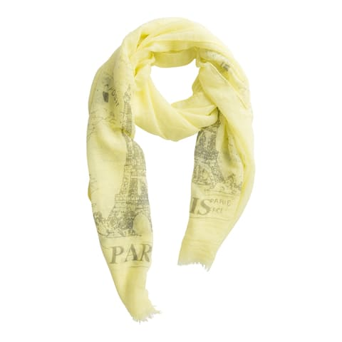 Tickled Pink Eiffel Tower Paris Scarf, Yellow