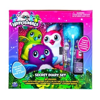Hatchimals Secret Diary Set Journal Marabou Pen Stamper Stamp Pad Sticker Sheets - MultiColor